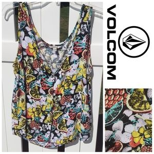 Volcom Sleeveless Button Up Blouse Size 10 Small